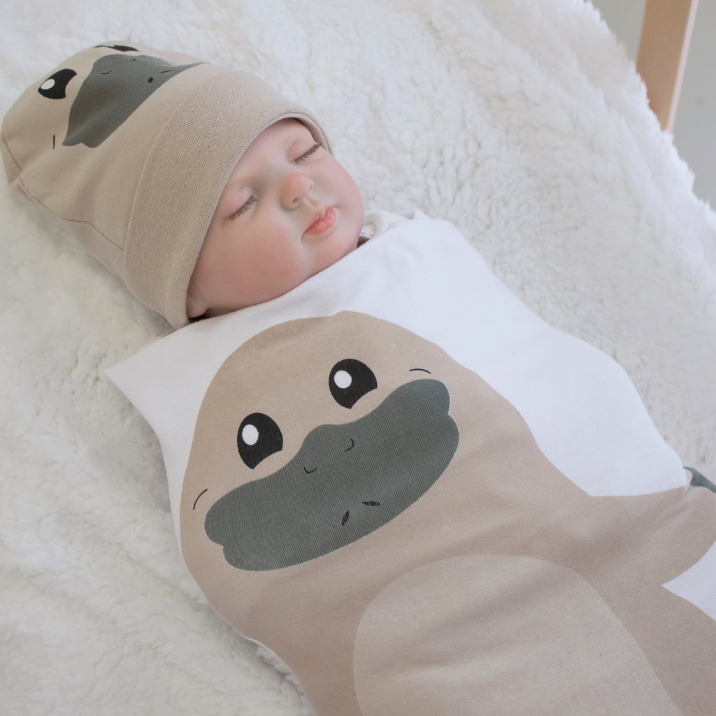 Aussie Animals Platypus Swaddling Stretchie & Novelty Beanie Set - Bubba Blue Australia