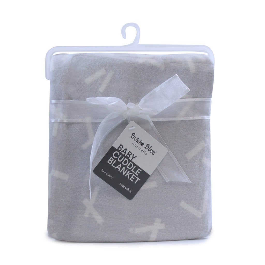 Everyday Essentials Brush Cotton Cuddle Blanket - Grey - Bubba Blue Australia