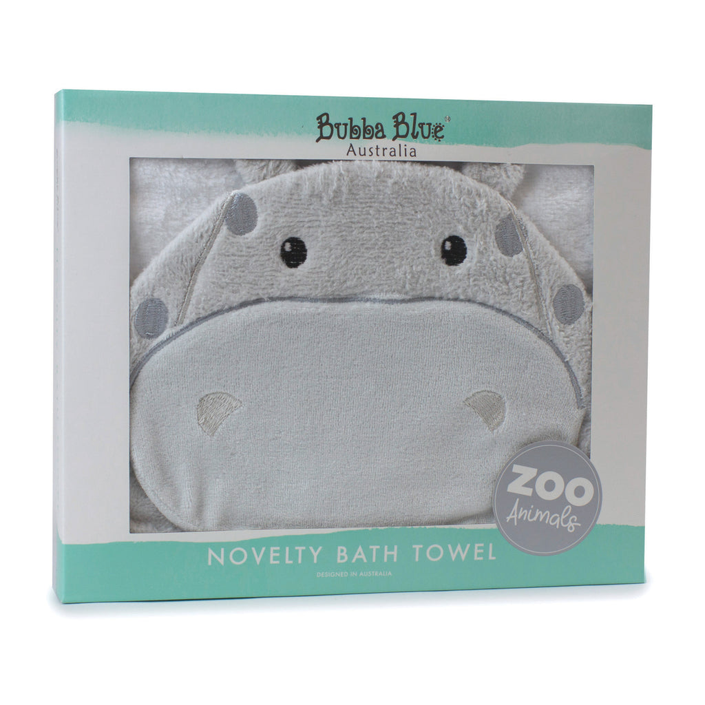 Zoo Animals 'Hippo' Novelty Hooded Bath Towel - Bubba Blue Australia