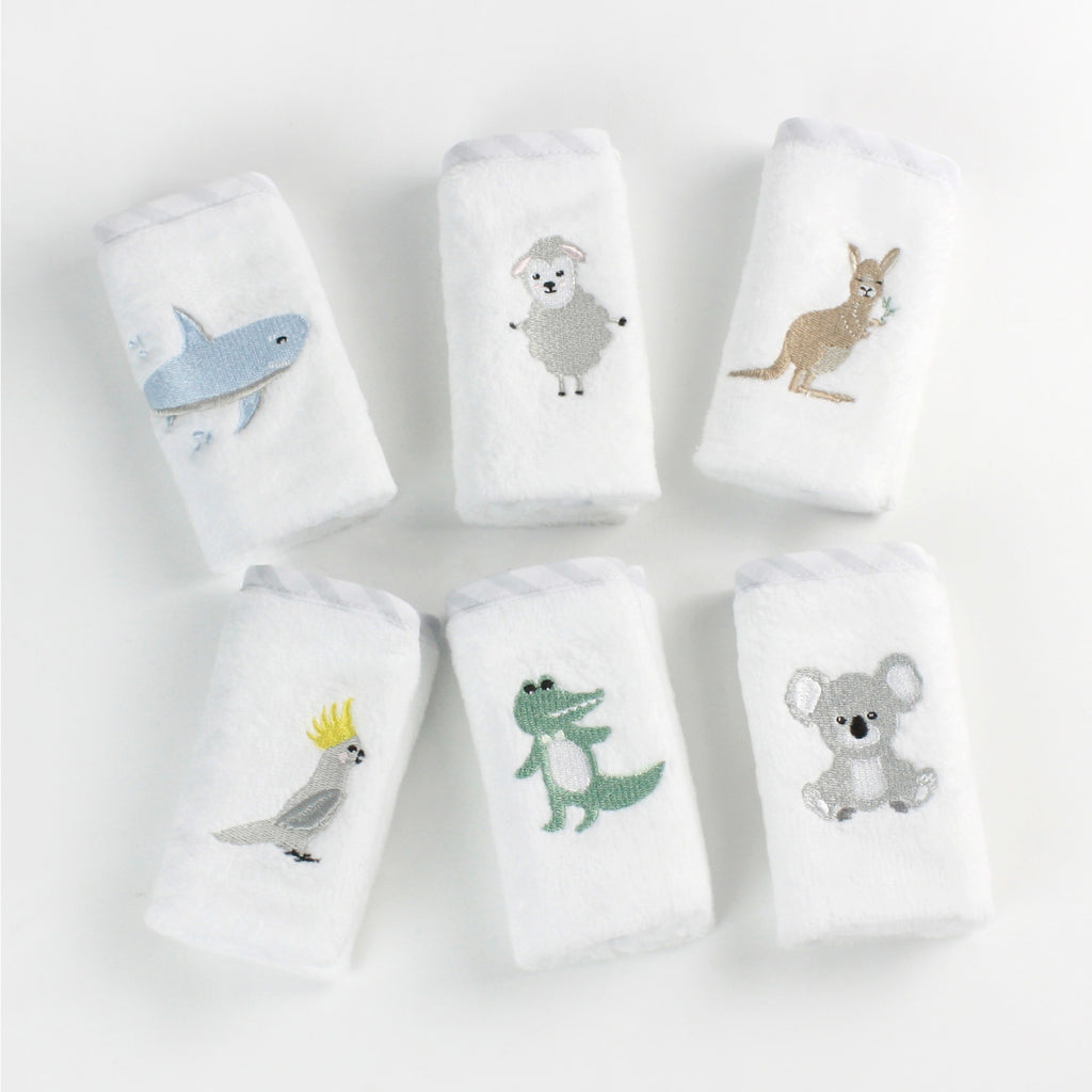 Aussie Animals 6pk Face Washers