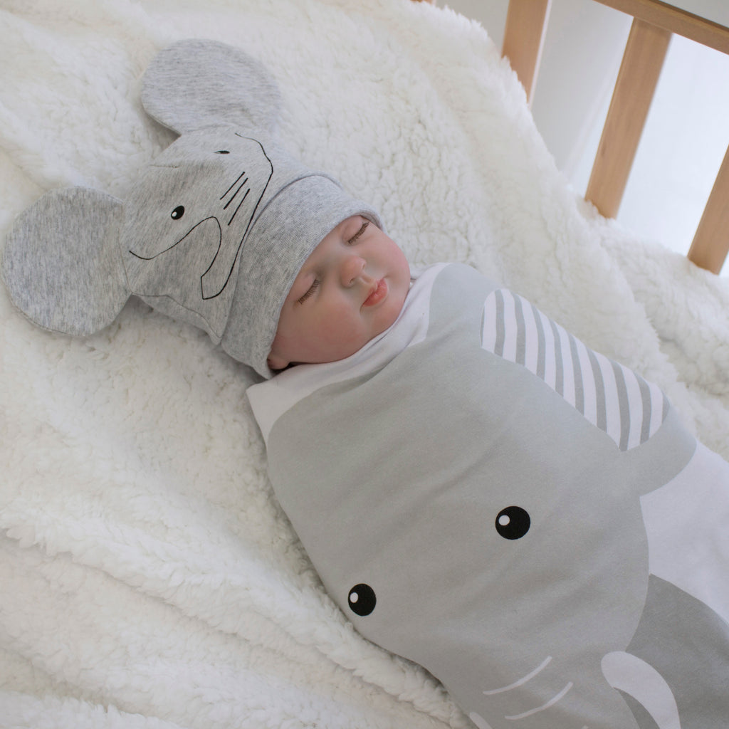 Zoo Animals Elephant Swaddling Stretchie & Novelty Beanie Set