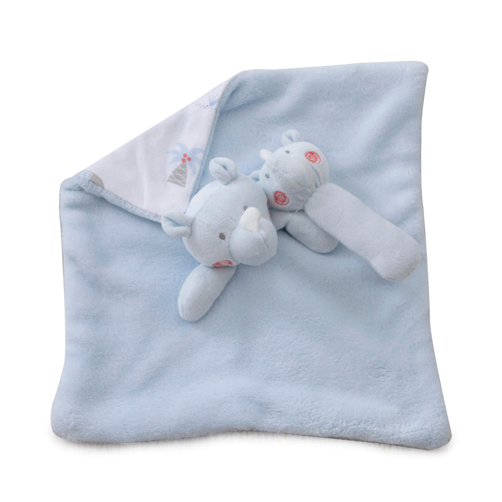 Rhino Run Security Blanket & Rattle Set - Bubba Blue Australia