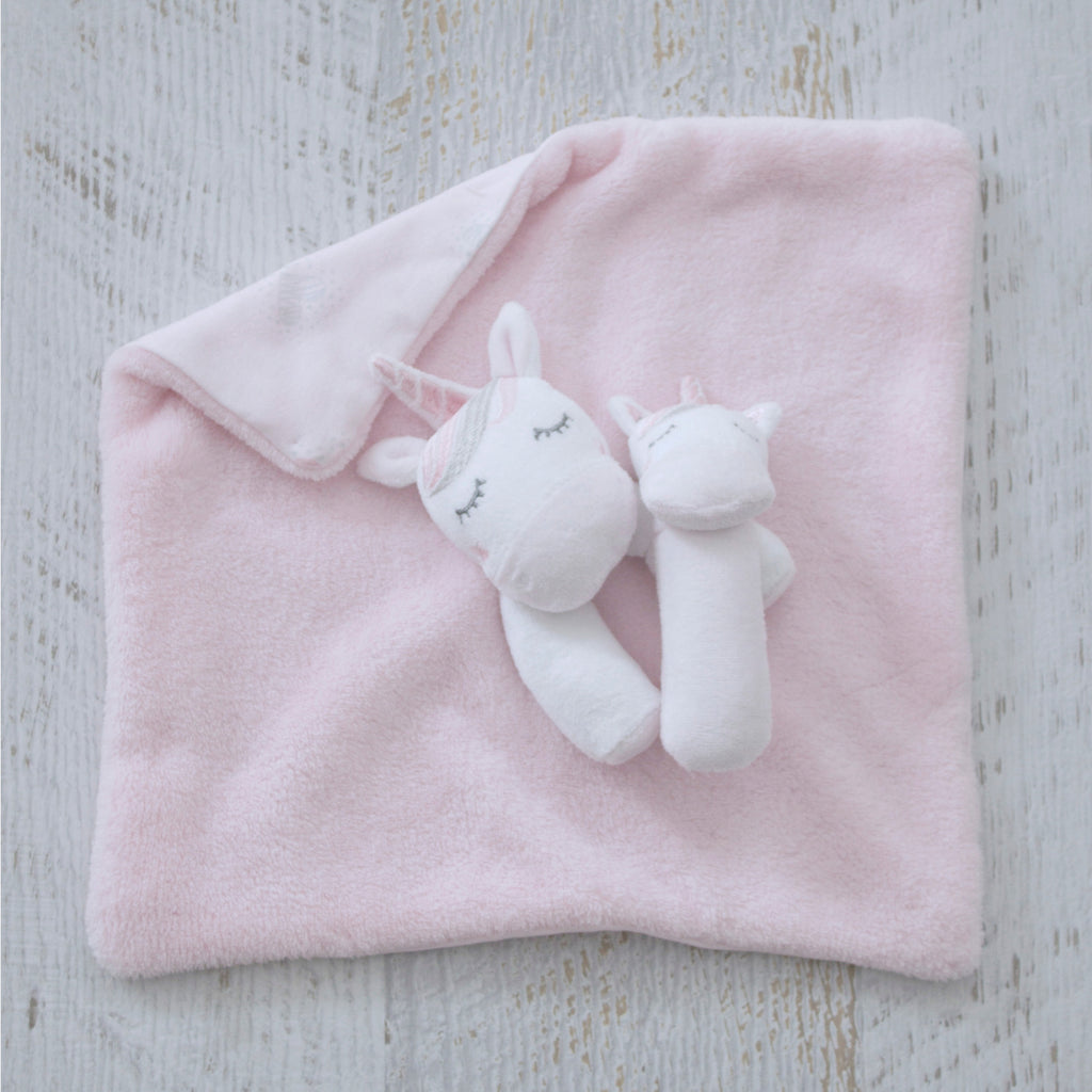 Unicorn Magic Security Blanket & Rattle Set - Bubba Blue Australia