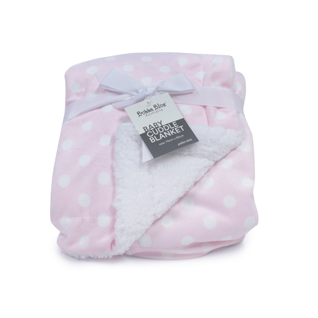Pink Polka Dots Reversible Cuddle Blanket - Bubba Blue Australia