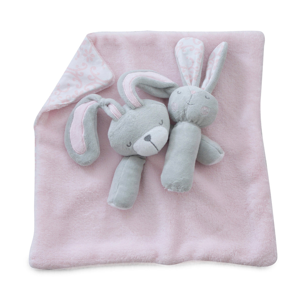 Bunny Hop Security Blanket & Rattle Set - Bubba Blue Australia
