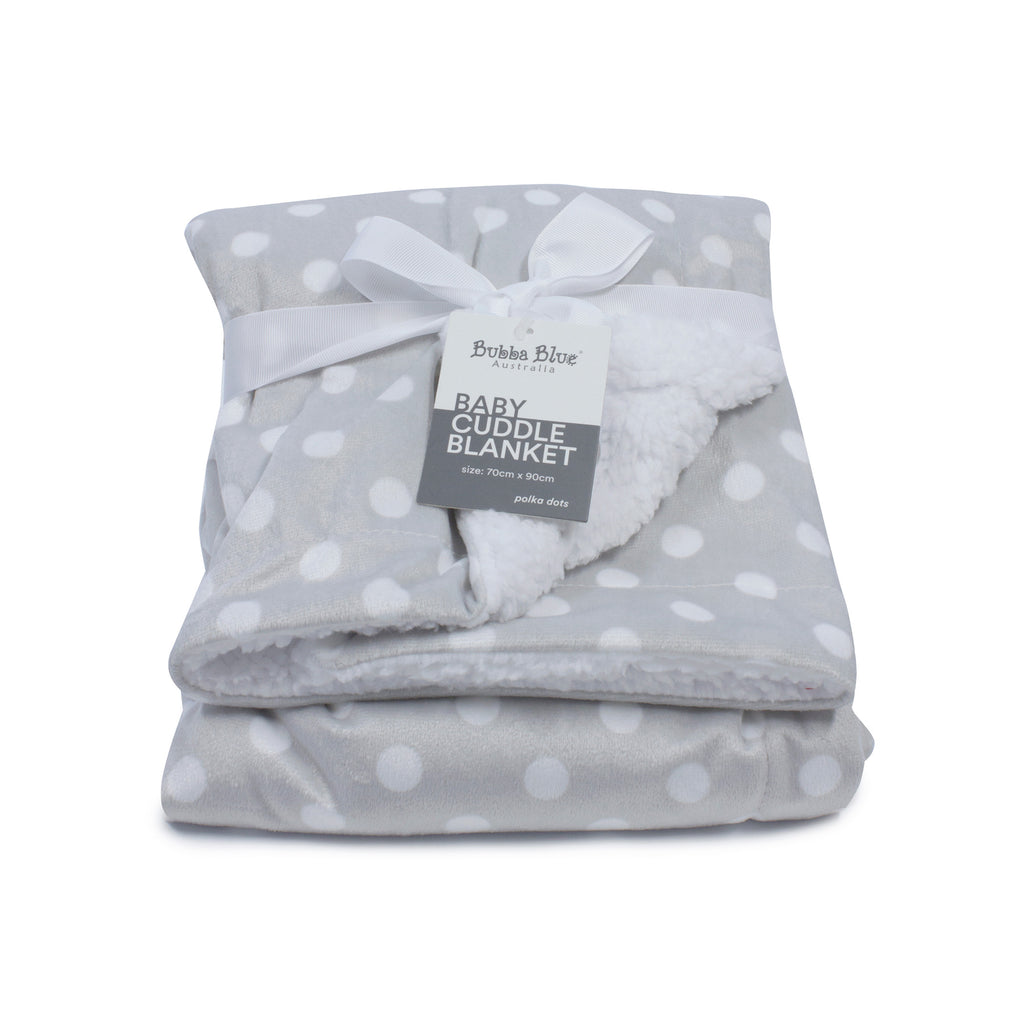 Grey Polka Dots Reversible Cuddle Blanket - Bubba Blue Australia