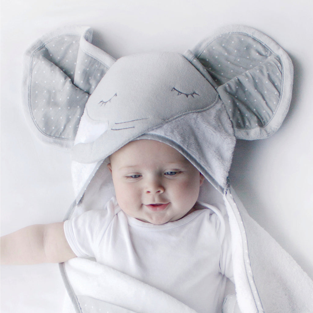 Petit Elephant Novelty Hooded Bath Towel - Bubba Blue Australia