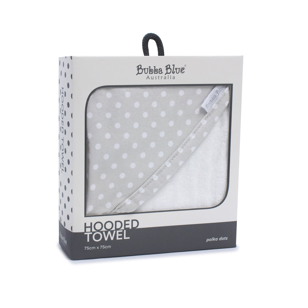 Grey Polka Dots Hooded Towel - Bubba Blue Australia