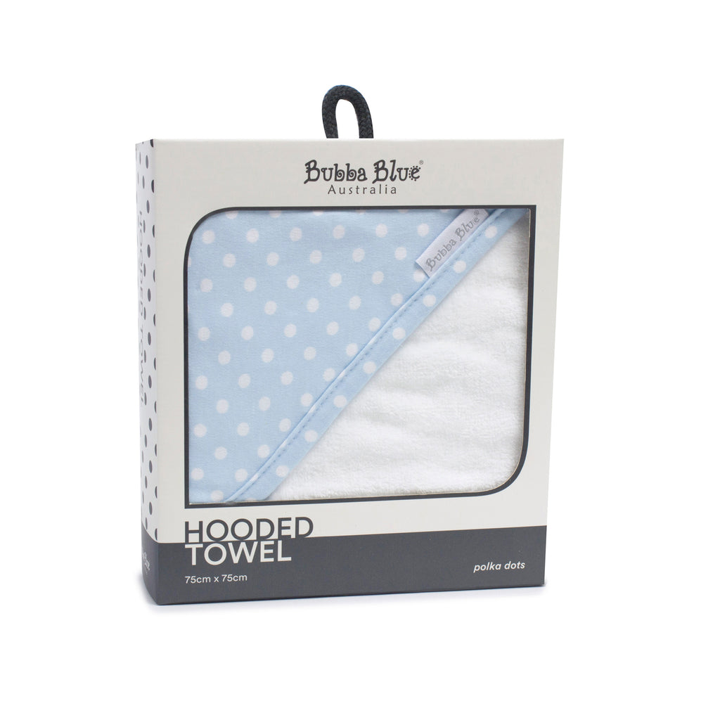 Blue Polka Dots Hooded Towel - Bubba Blue Australia