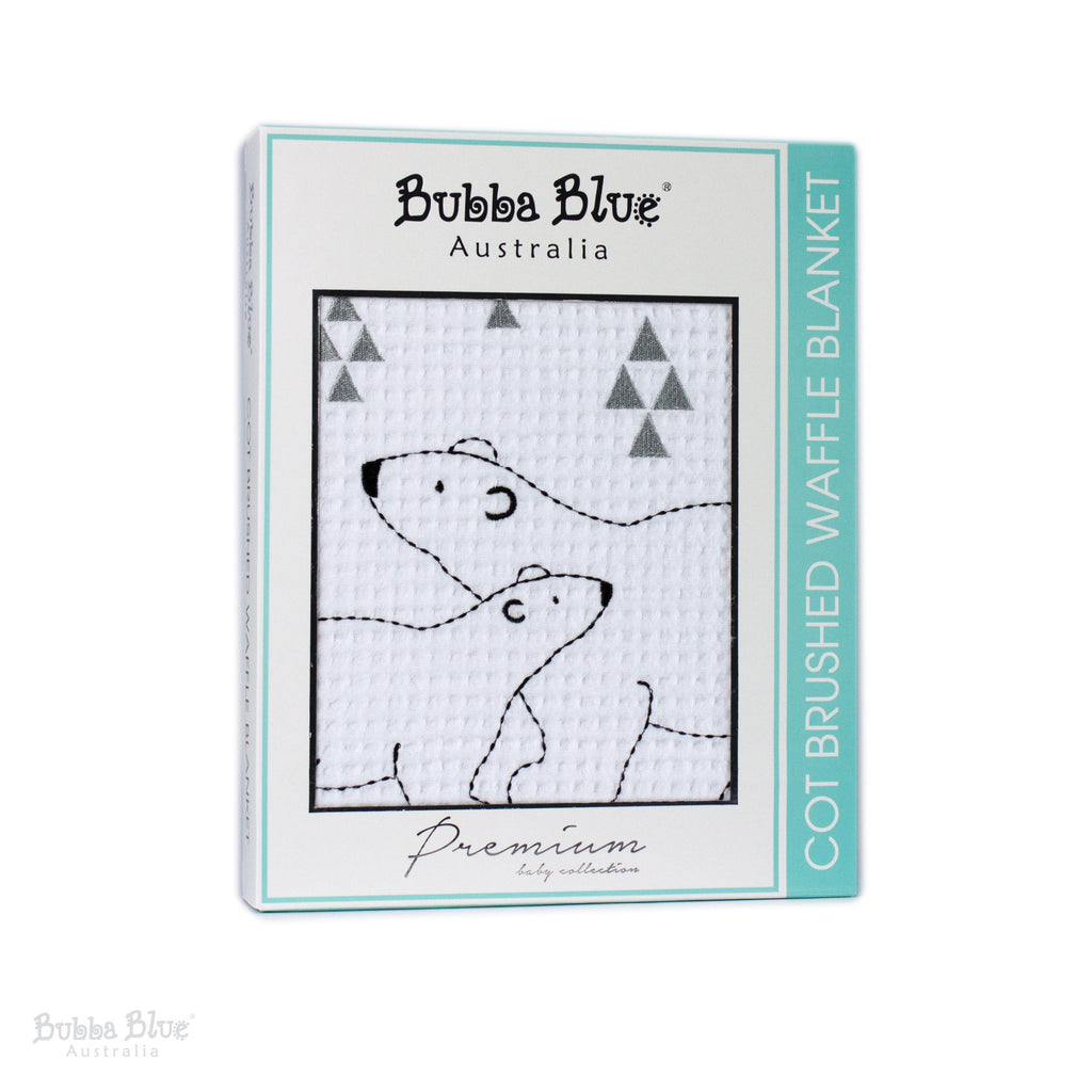 Polar Bear Cot Brushed Waffle Blanket - Bubba Blue Australia