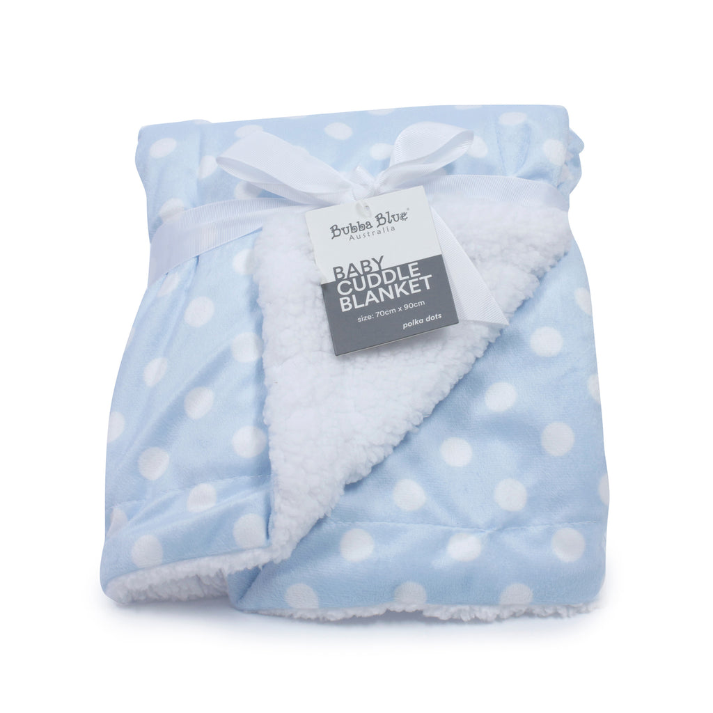 Blue Polka Dots Reversible Cuddle Blanket - Bubba Blue Australia