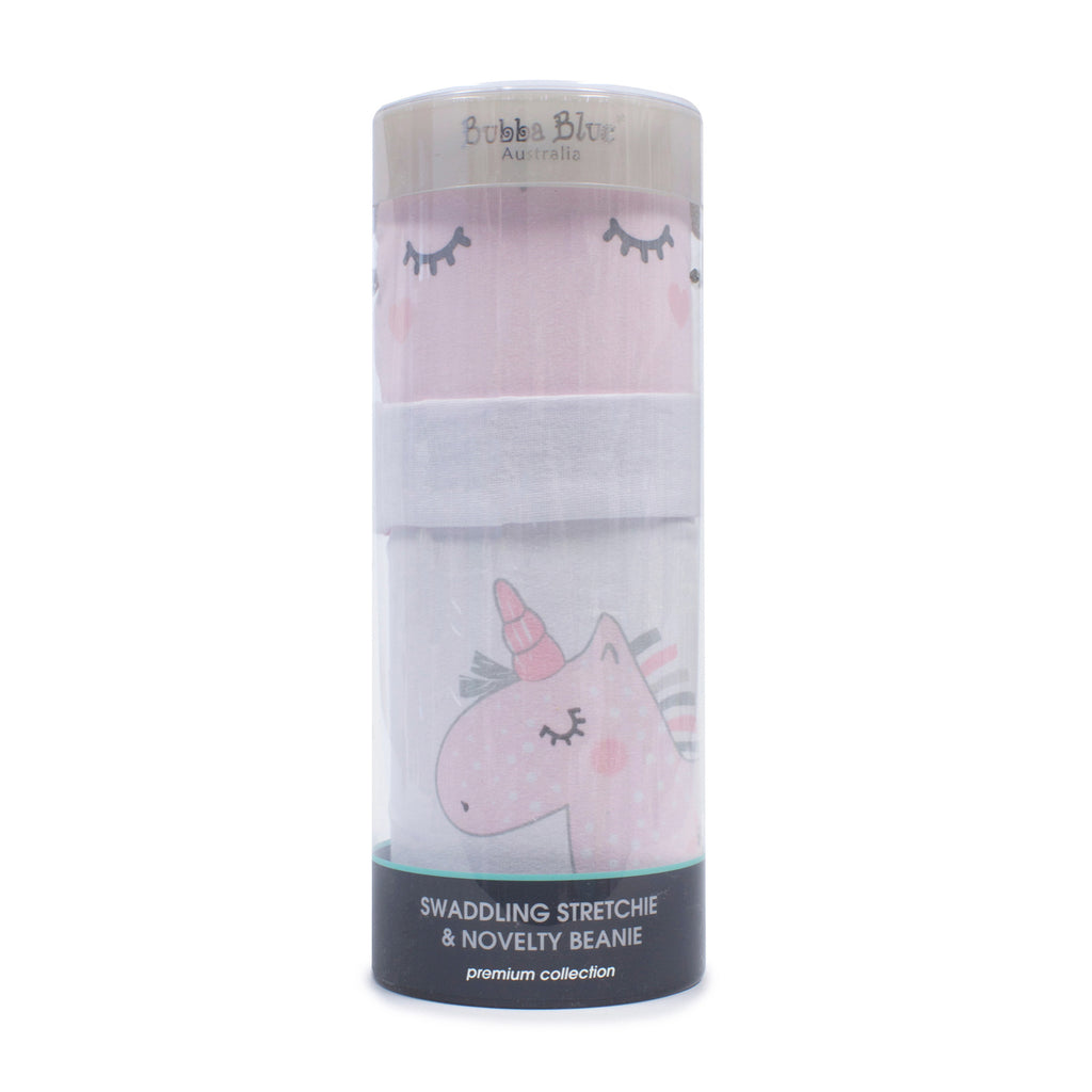 Unicorn Magic Swaddling Stretchie & Novelty Beanie Set - Bubba Blue Australia