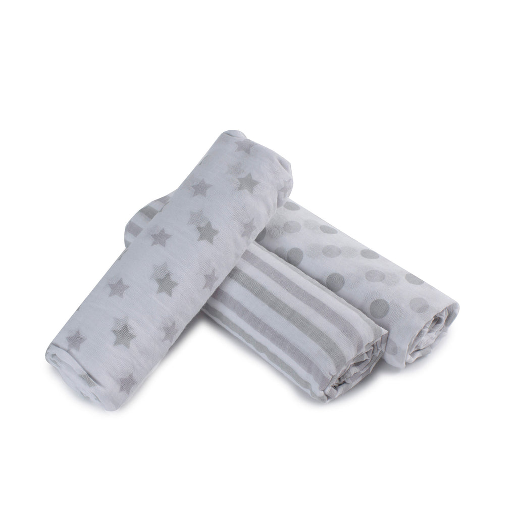 Everyday Essentials 3 Pack Muslin Swaddle Wraps - Grey - Bubba Blue Australia