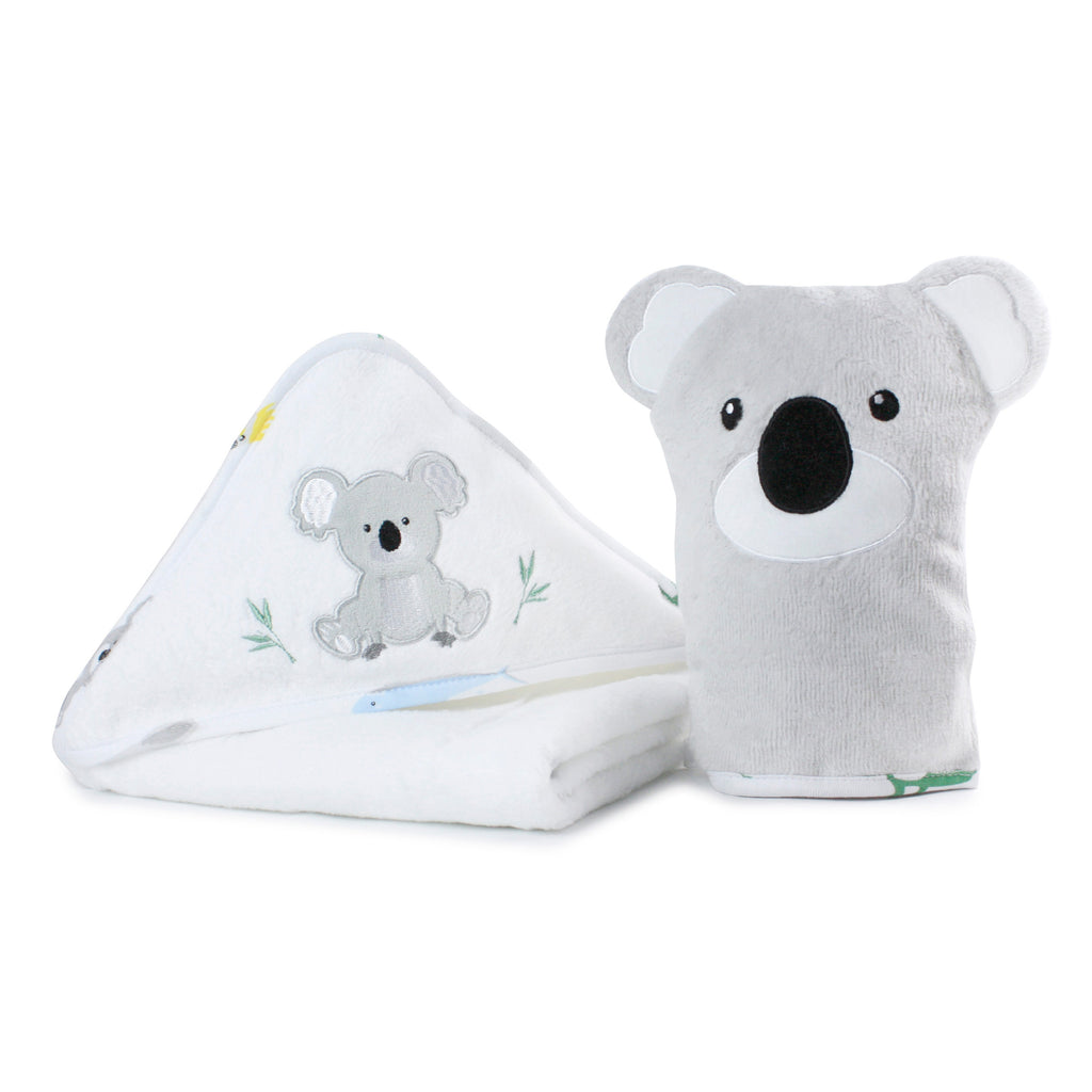 Aussie Animals Koala Hooded Towel & Wash Mitt