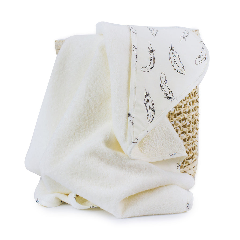 Organic Feathers Cotton Hooded Towel - Bubba Blue Australia