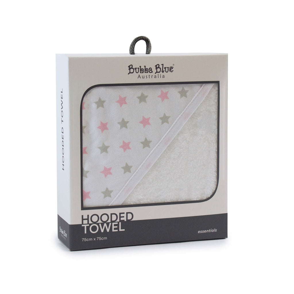 Everyday Essentials Hooded Towel - Pink & Grey Stars - Bubba Blue Australia