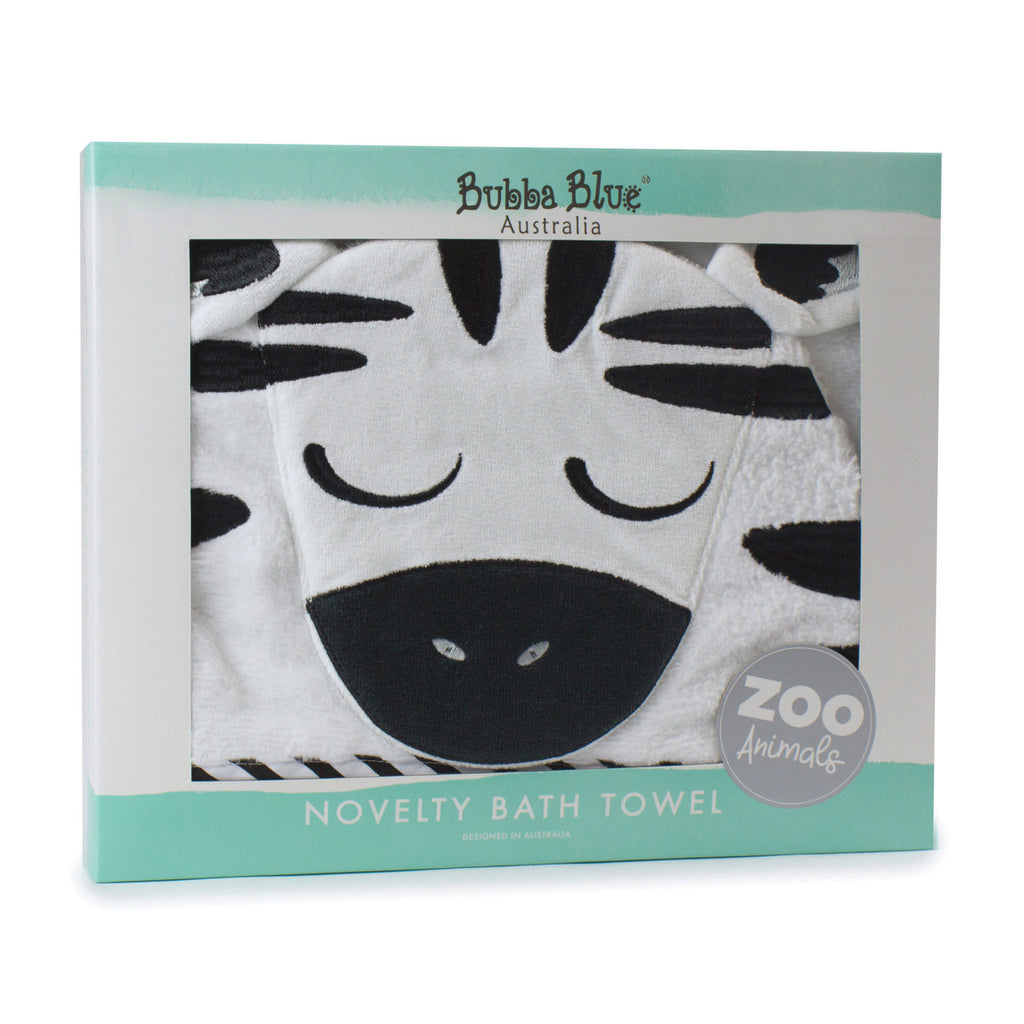 Zoo Animals 'Zebra' Novelty Hooded Bath Towel - Bubba Blue Australia