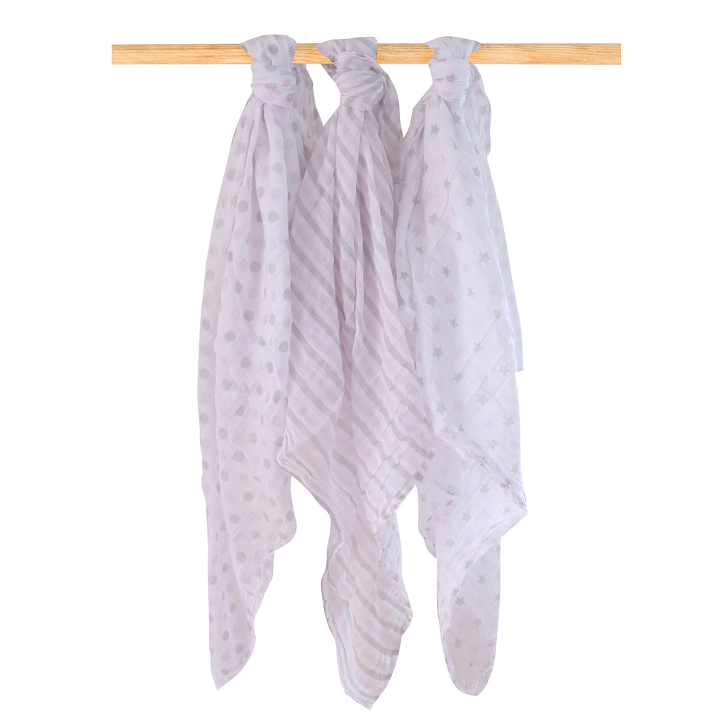 Everyday Essentials 3 Pack Muslin Swaddle Wraps - Pink - Bubba Blue Australia