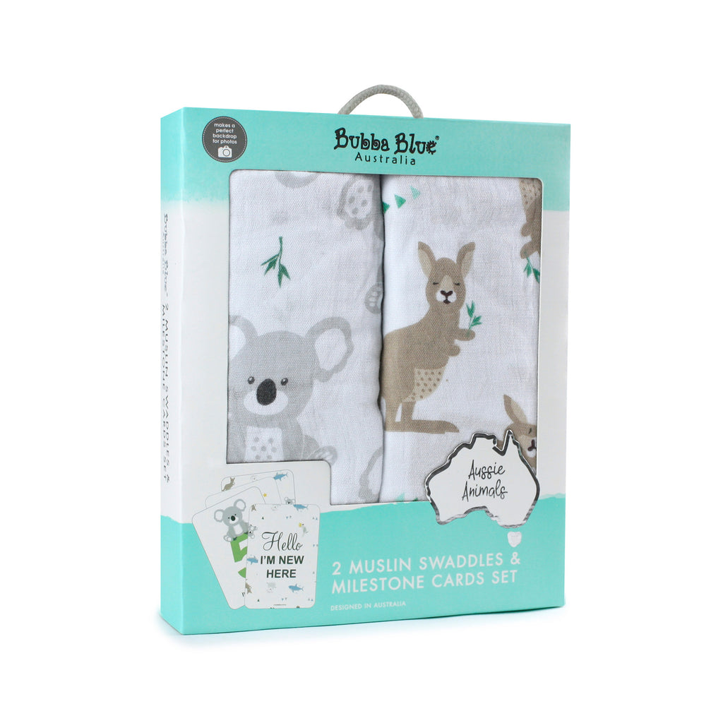 Aussie Animals 2pk Muslin Swaddles & Milestone Cards Set