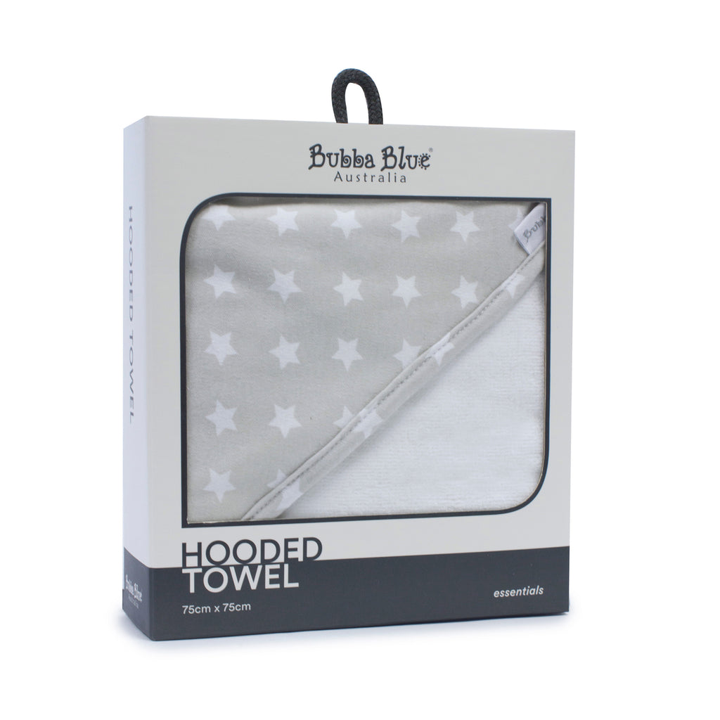 Everyday Essentials Hooded Towel - Grey - Bubba Blue Australia