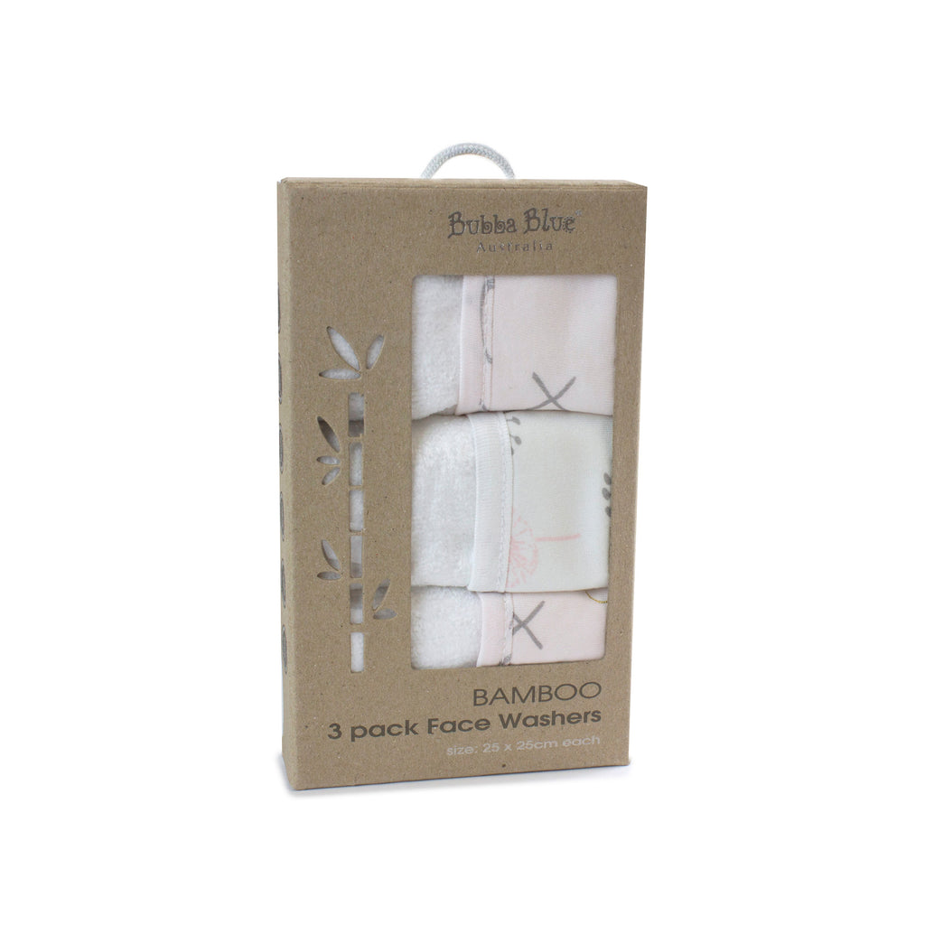 Pink Bloom Bamboo 3pk Face Washers - Bubba Blue Australia