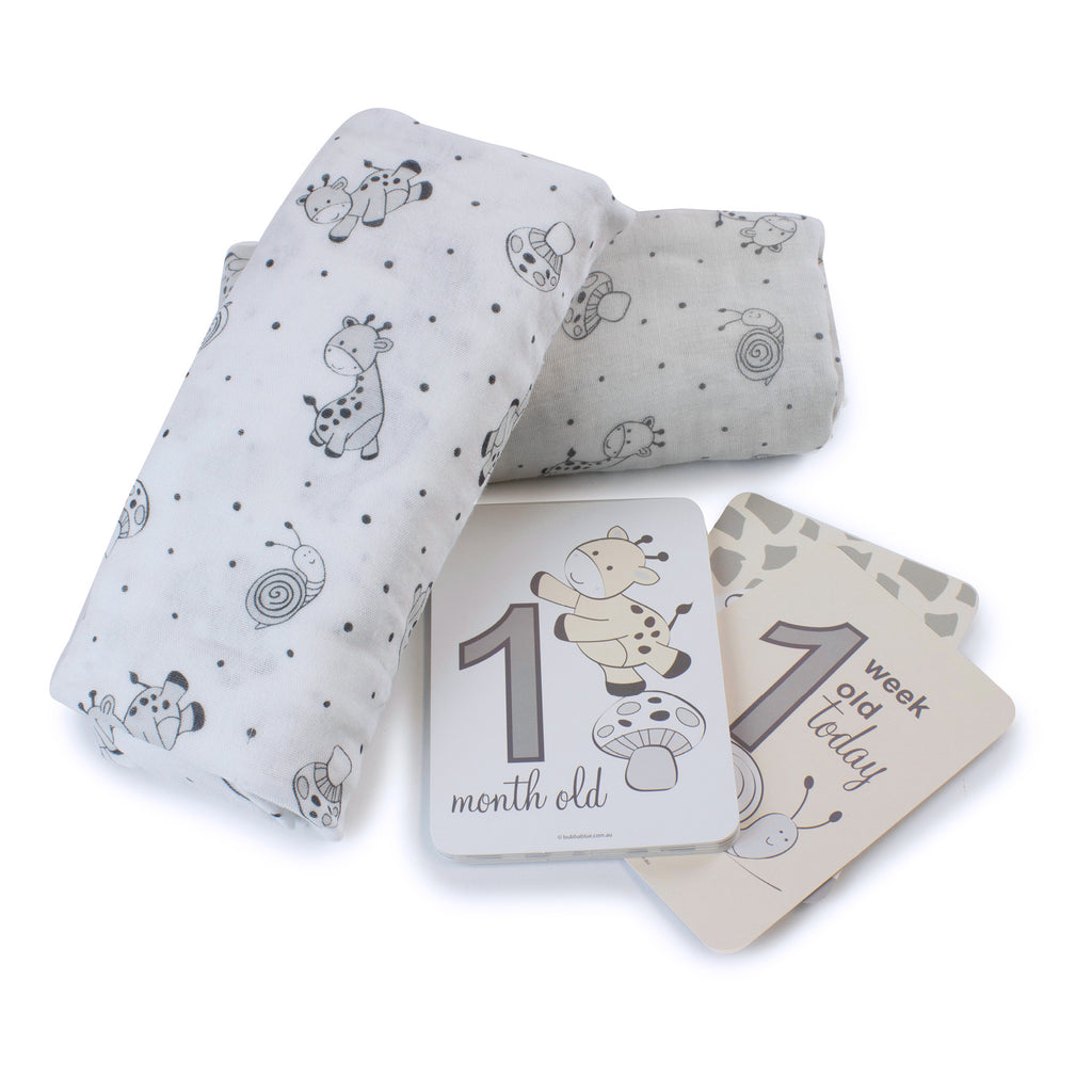 Grey Playtime 2pk Muslin Wraps With Milestone Card