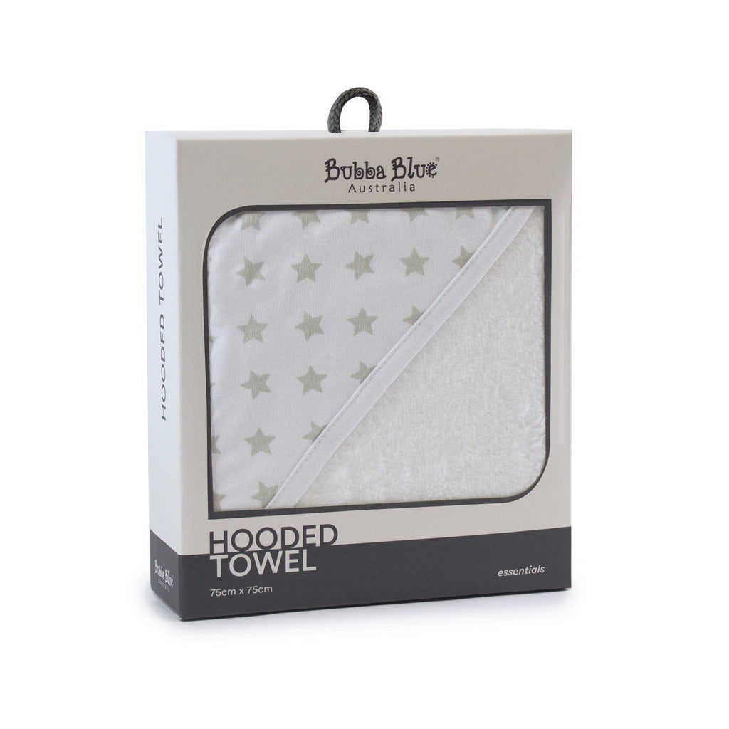 Everyday Essentials Hooded Towel - Grey Stars - Bubba Blue Australia