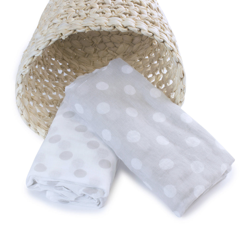Grey Polka Dots 2pk Muslin Wraps