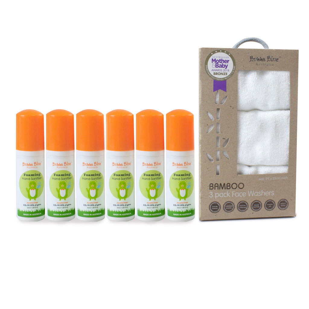6 x 50ml Alcohol Free Hand Sanitiser & Face Washer Gift Set - Fragrance Free - Bubba Blue Australia