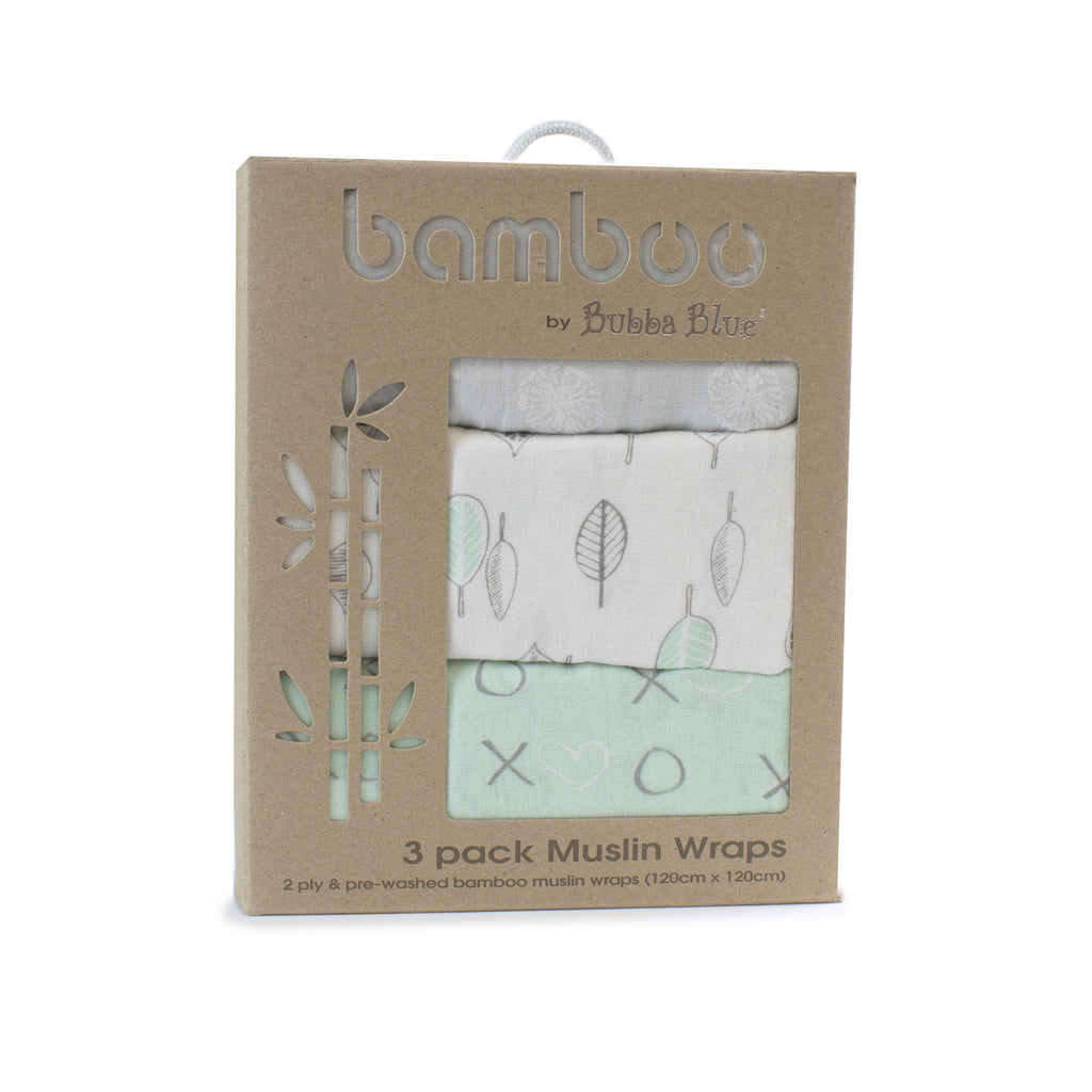 Mint Meadow Bamboo 3pk Muslin Swaddle Wraps - Bubba Blue Australia