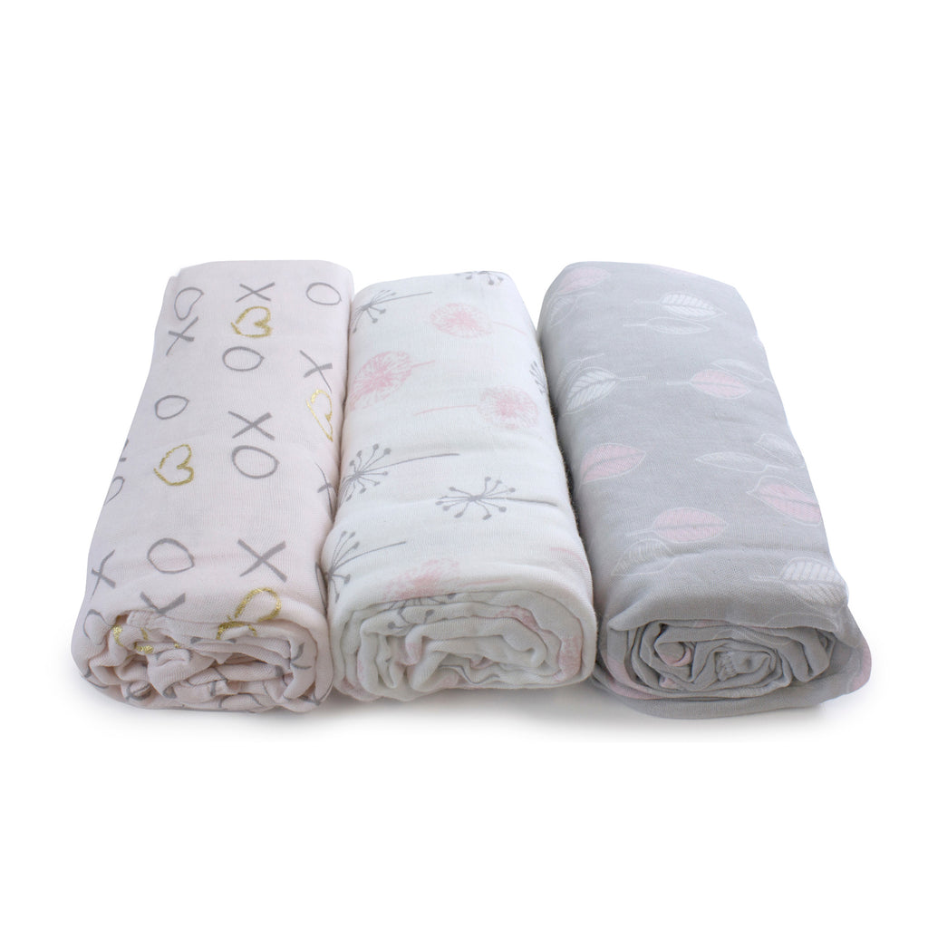 Pink Bloom Bamboo 3pk Muslin Swaddle Wraps - Bubba Blue Australia