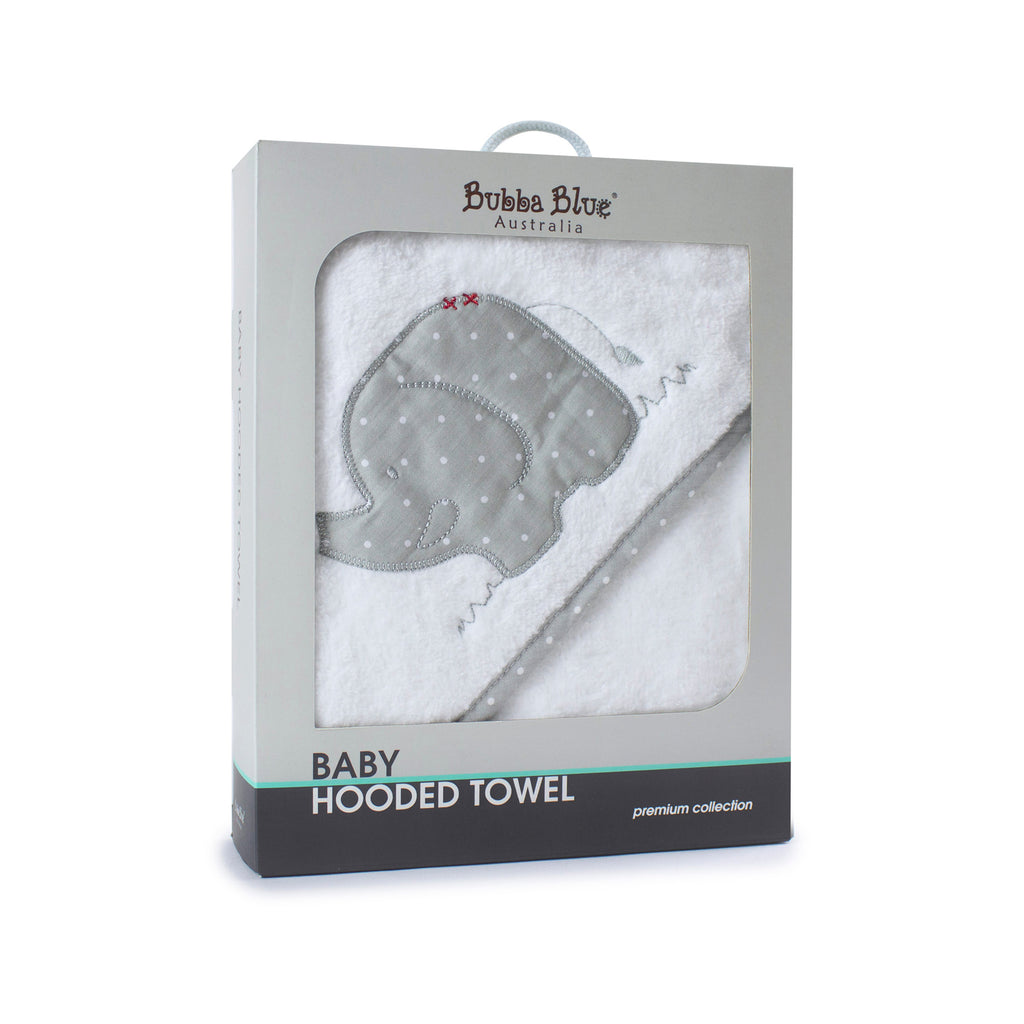 Petit Elephant Hooded Towel - Bubba Blue Australia
