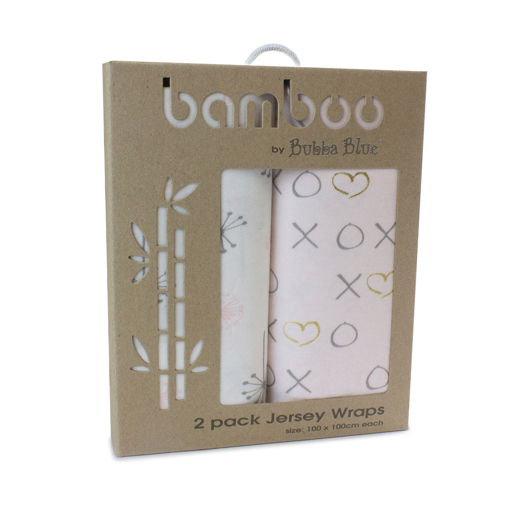 Pink Bloom Bamboo 2pk Stretch Jersey Swaddle Wraps - Bubba Blue Australia