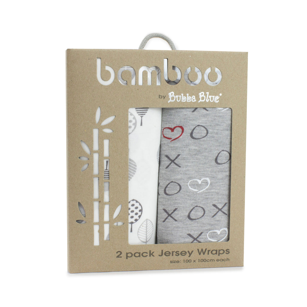 Silver Mist Bamboo 2pk Stretch Jersey Swaddle Wraps