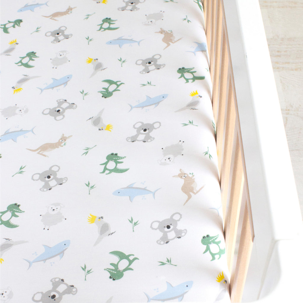 Aussie Animals Jersey Cot Fitted Sheet