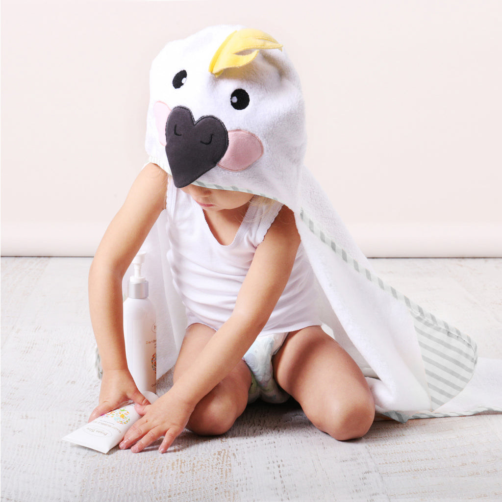 Aussie Animals 'Cockatoo' Novelty Hooded Bath Towel - Bubba Blue Australia