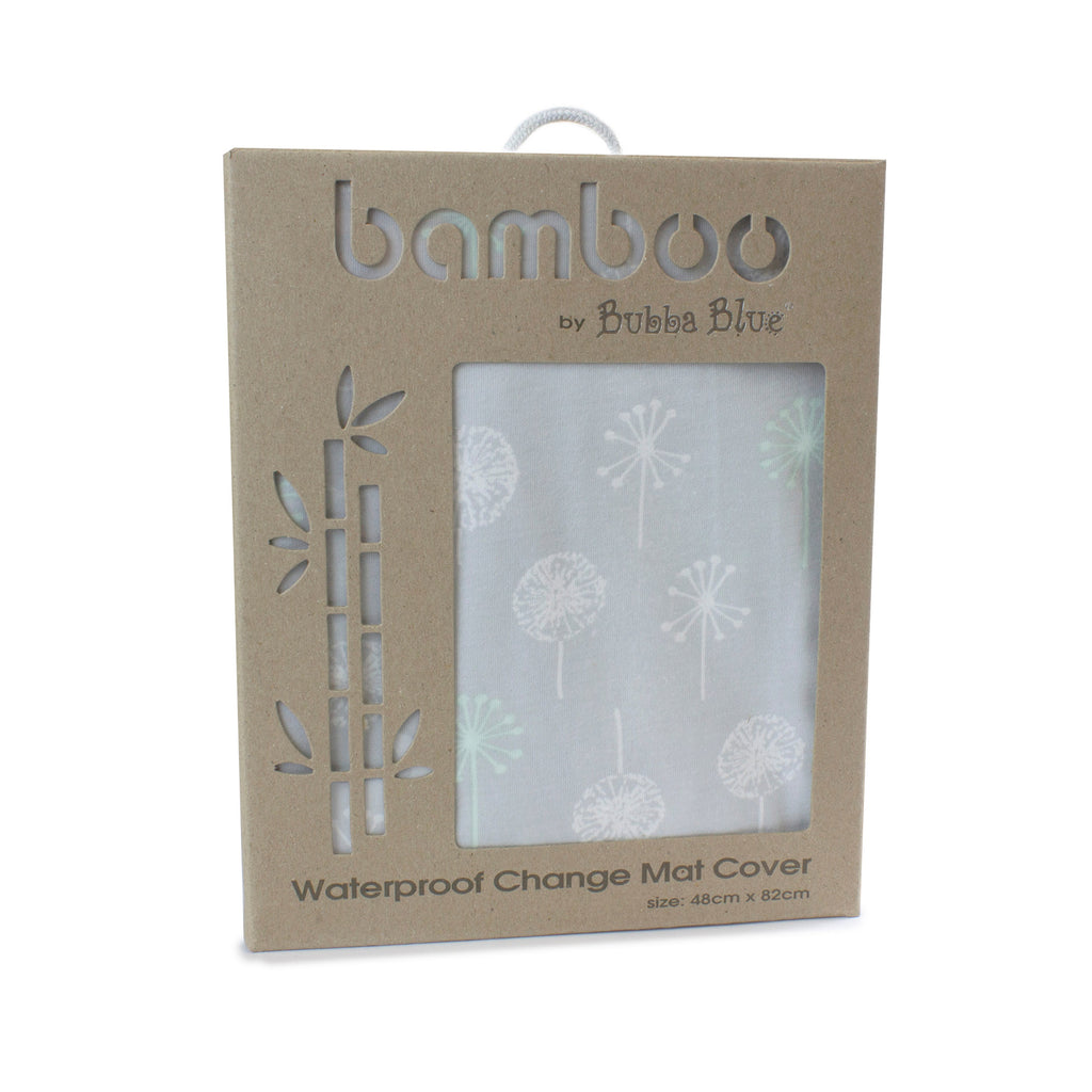 Mint Meadow Bamboo Jersey Waterproof Change Mat Cover - Bubba Blue Australia