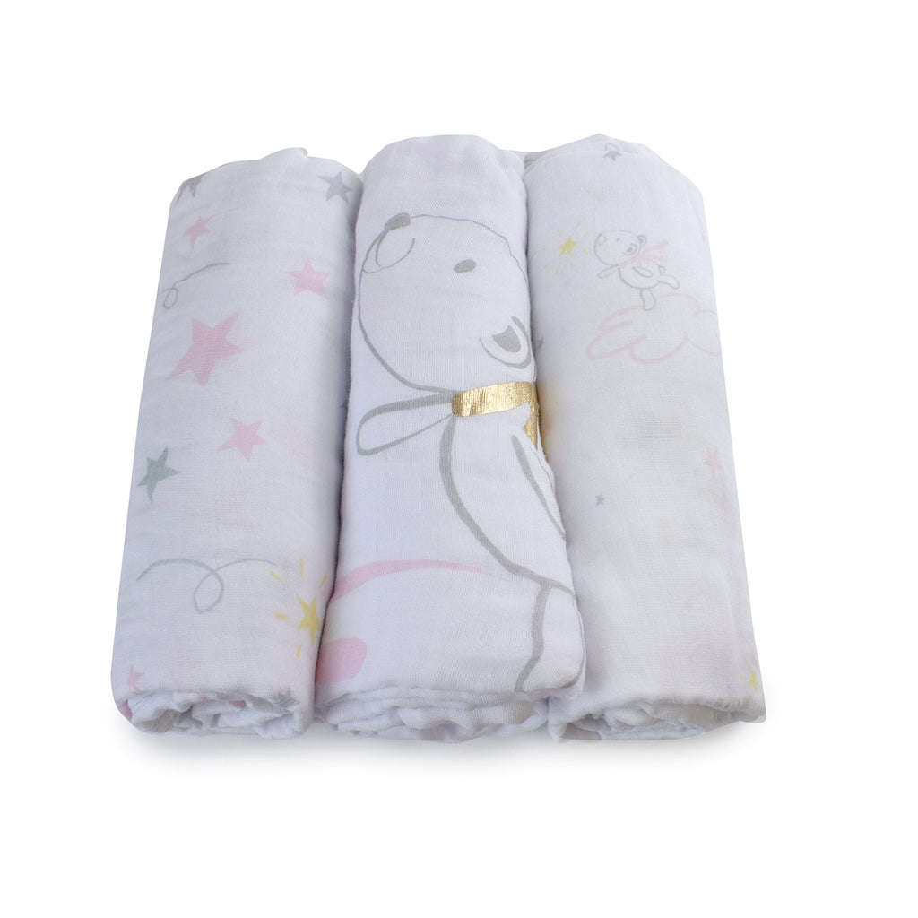 Pink Wish Upon A Star 3pk Muslin Wraps