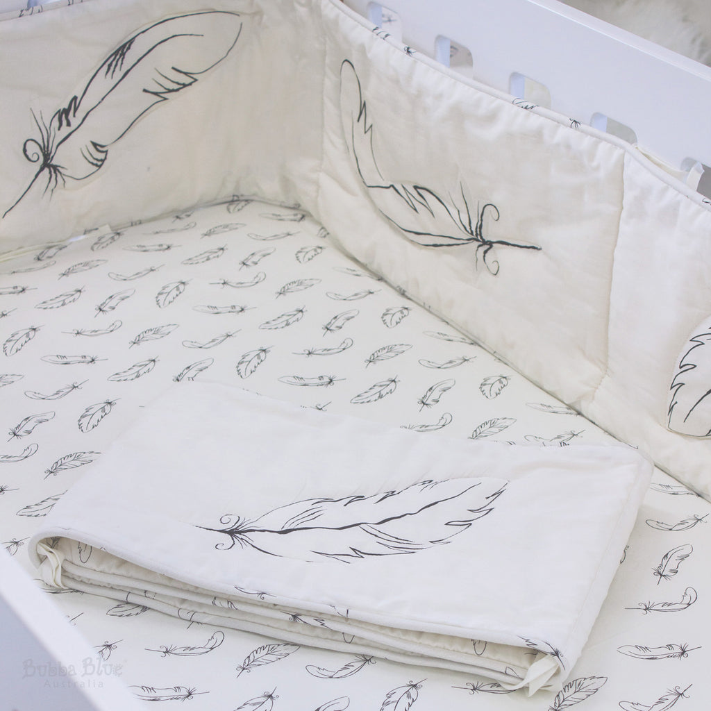 Organic Feathers Cotton 2pcs Cot Bumper Set (with organic cotton fill)
