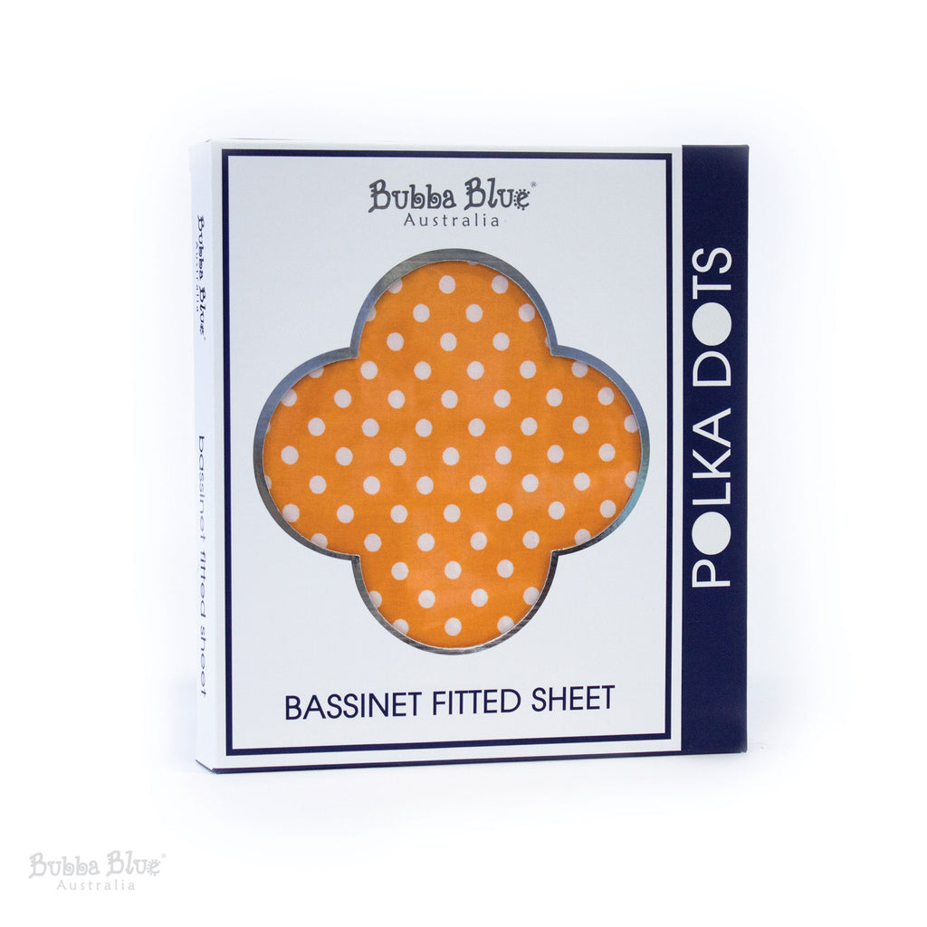 Polka Dots Bassinet Fitted Sheet - Orange - Bubba Blue Australia