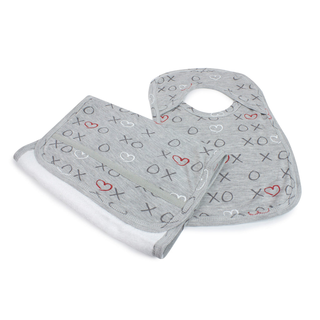 Silver Mist Bamboo Bib & Burp Cloth Set