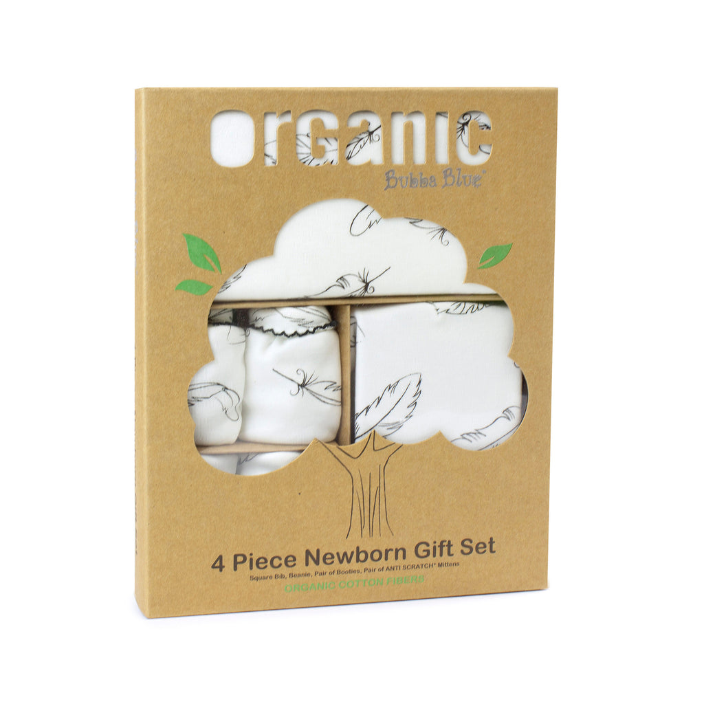 Organic Feathers Cotton 4 Piece Newborn Gift Set