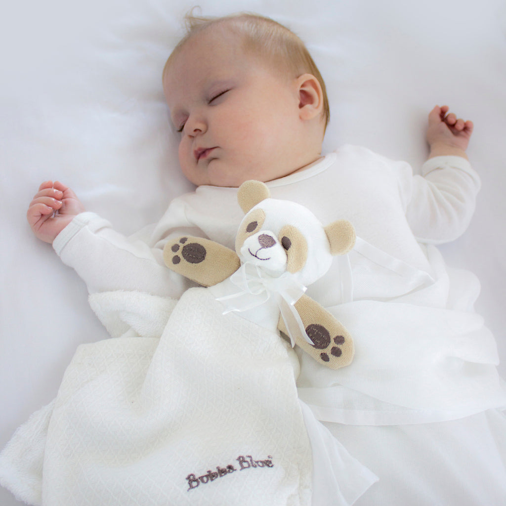 Bamboo White Security Blanket (bear) - Bubba Blue Australia
