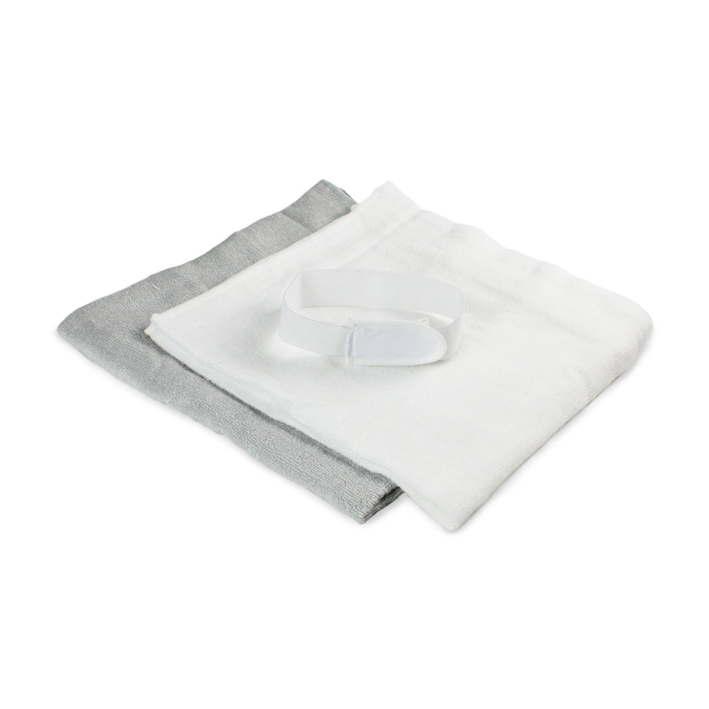 Bamboo 8 pack Nappies / Towelling Squares - White & Grey - Bubba Blue Australia