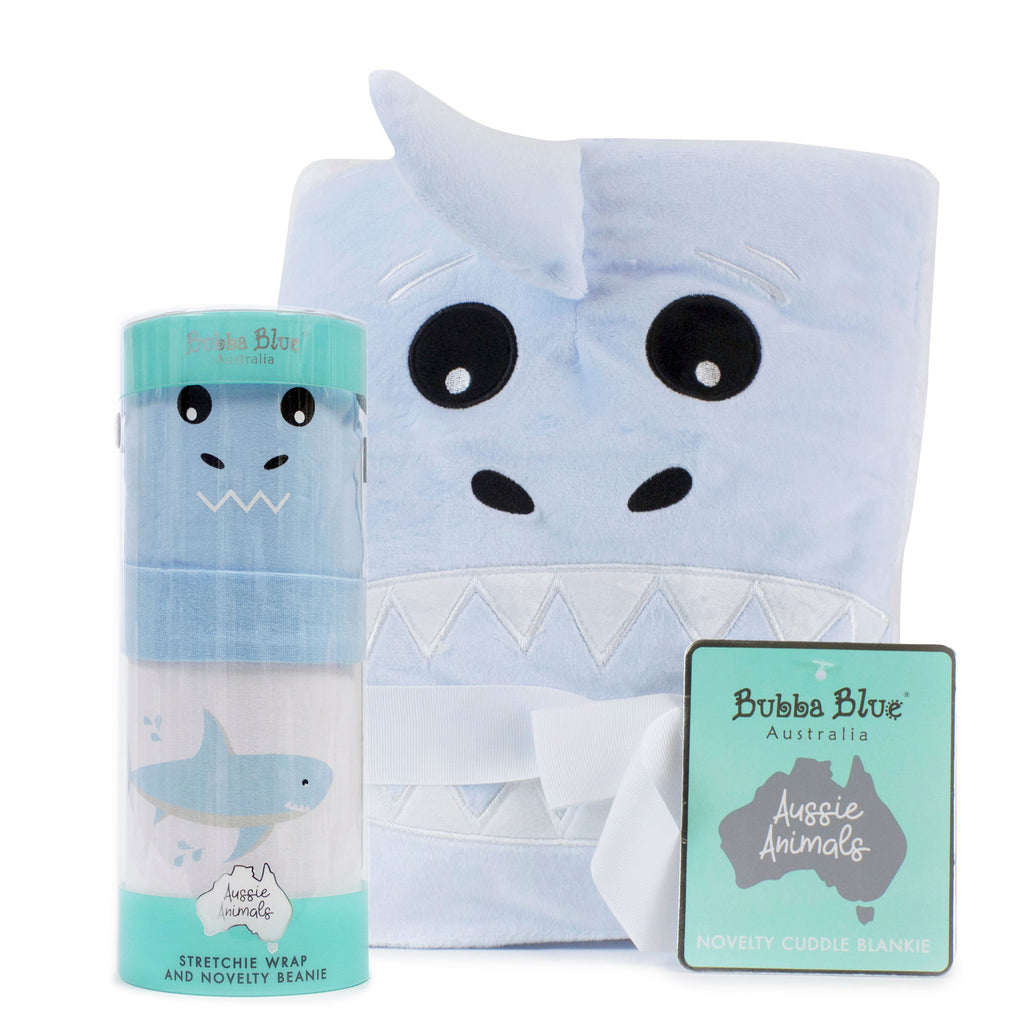 Aussie Animals Shark Bundle - Novelty Blankie, Swaddling Stretchie & Novelty Beanie Set - Bubba Blue Australia