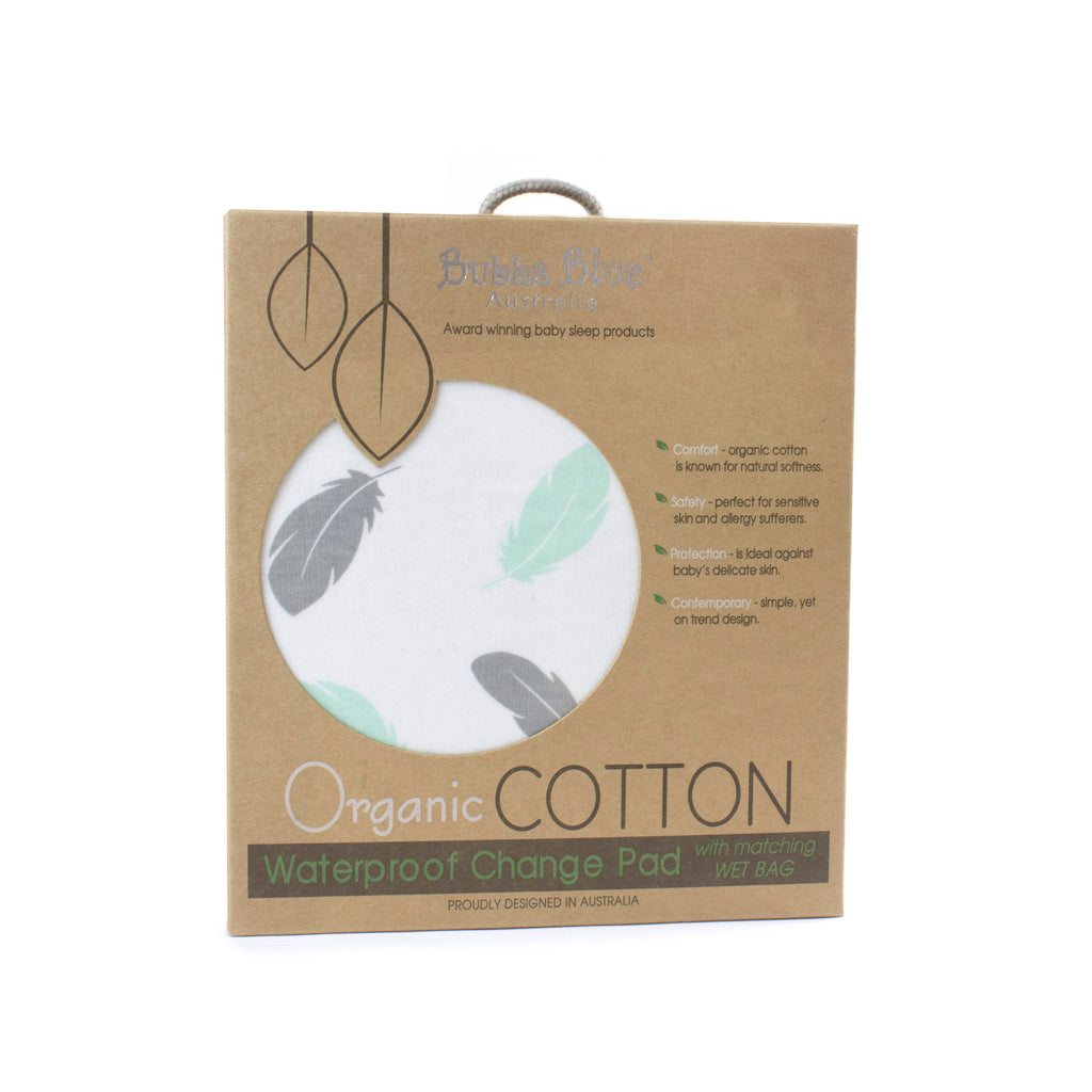 New Organic Feathers Waterproof Change Pad with Wet Bag