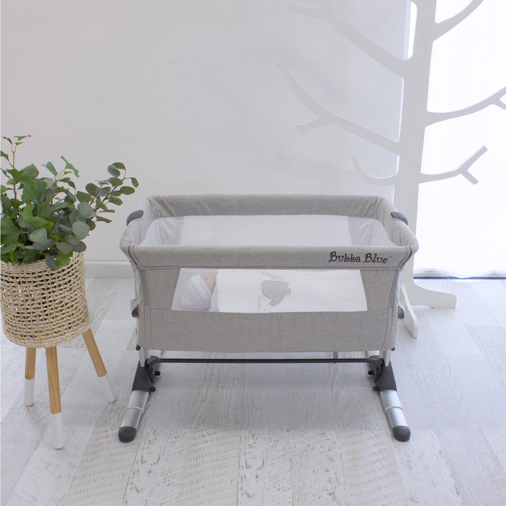 Bubba Blue Co Sleeper Bassinet Grey - Baby Bunting Exclusive - Bubba Blue Australia