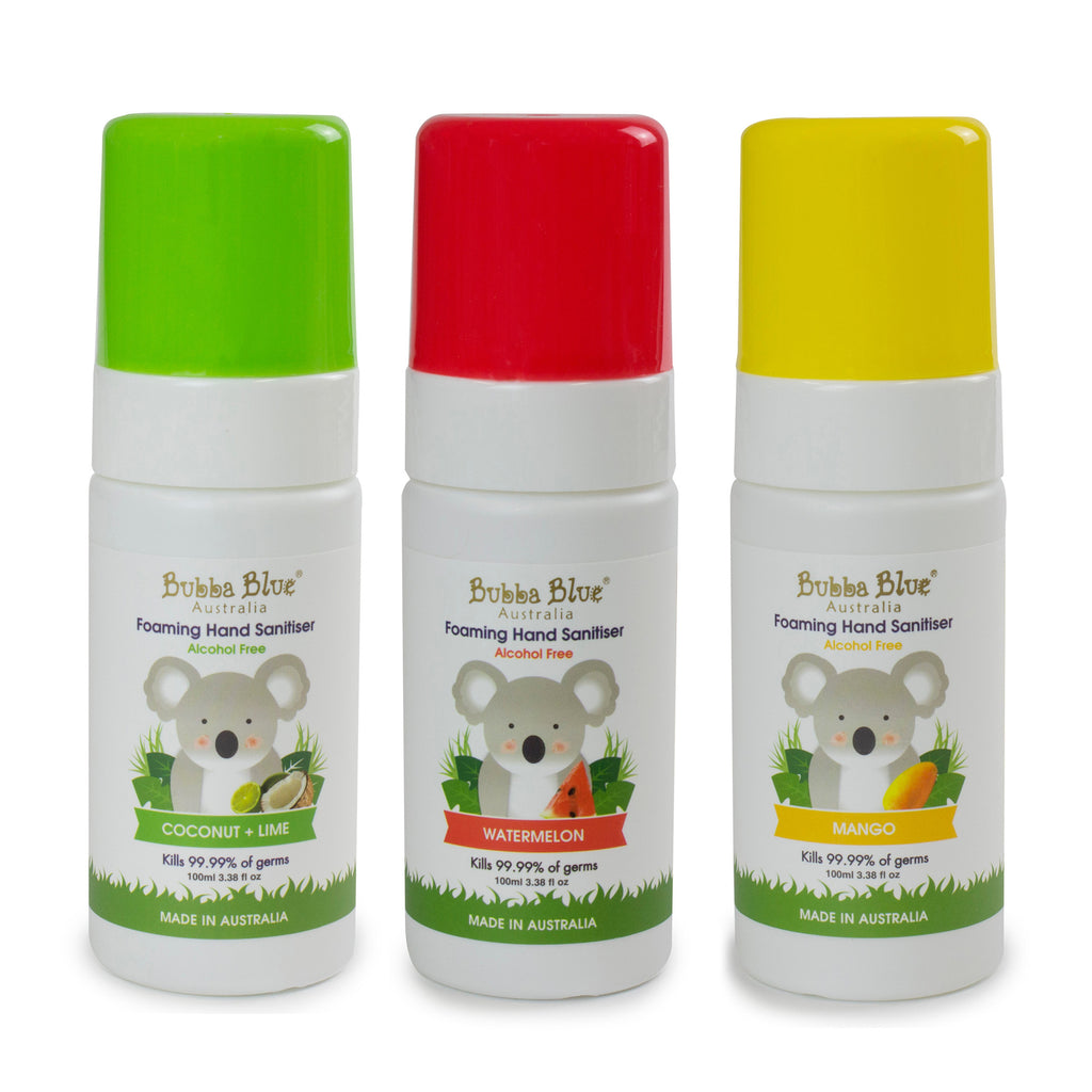 Alcohol Free Hand Sanitiser Bundle - Coconut + Lime, Watermelon, Mango - Bubba Blue Australia