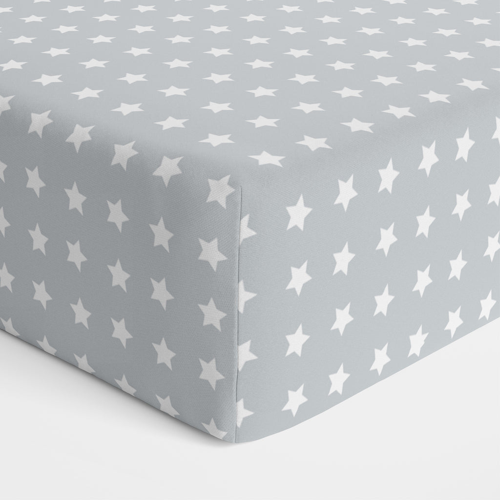 Everyday Essentials 2 pack Jersey Cot Fitted Sheets - White, Grey w White Stars - Bubba Blue Australia