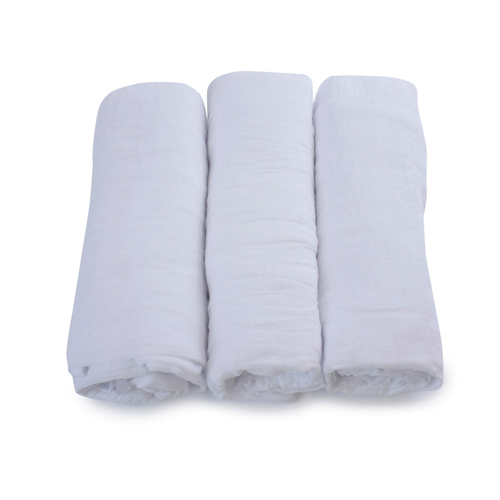 Everyday Essentials 3 Pack Muslin Swaddle Wraps - White - Bubba Blue Australia